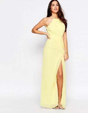 VLabel London Платье макси с разрезом Temple. Цвет: желтый