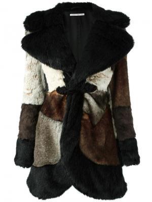 Пальто лоскутного кроя с меховым эффектом Alessandra Rich. Цвет: чёрный