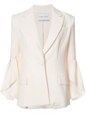 Пиджак с оборками на рукавах Prabal Gurung. Цвет: белый