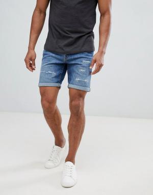Selected Homme Состаренные джинсовые шорты. Цвет: синий
