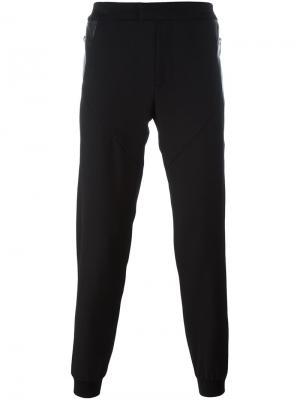 Спортивные брюки с кожаными вставками Les Hommes. Цвет: чёрный