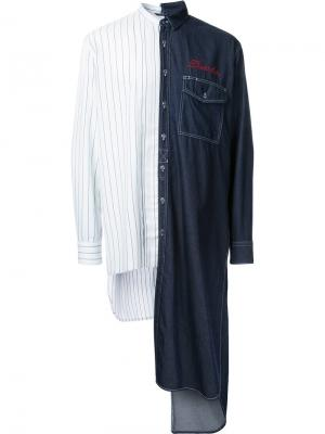Комбинированная рубашка Maison Mihara Yasuhiro. Цвет: белый