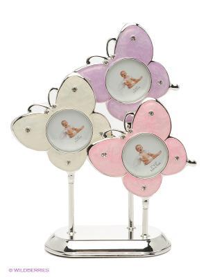 Фоторамка Бабочки, металлическая со стразами на 3 фото формата 5х5см PLATINUM quality. Цвет: серебристый