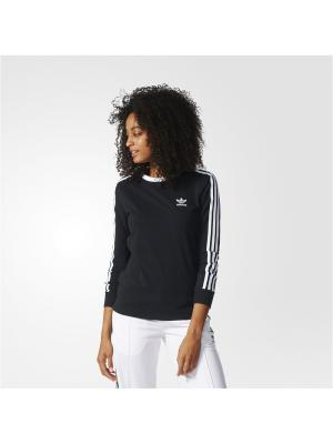 Футболка с дл.рук. жен. 3STRIPES LS TEE Adidas. Цвет: черный