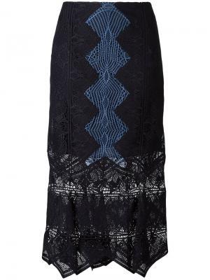 Кружевная юбка Jonathan Simkhai. Цвет: синий