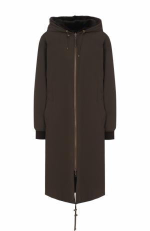 Парка свободного кроя с подстежкой из меха норки Army Yves Salomon. Цвет: темно-коричневый