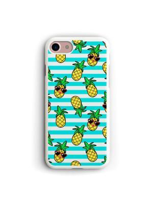 Чехол для iPhone 7/8 Фон ананасики Boom Case. Цвет: морская волна, светло-желтый