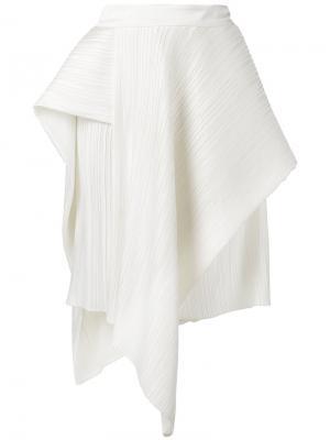 Асимметричная плиссированная юбка Christian Wijnants. Цвет: белый