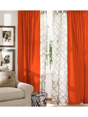 Комплект штор  льняных гладкокрашенных Апельсин, 2х145*180см на петлях Василиса. Цвет: оранжевый