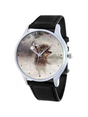 Дизайнерские часы Ежик в густом тумане Tina Bolotina. Цвет: серый, светло-коричневый