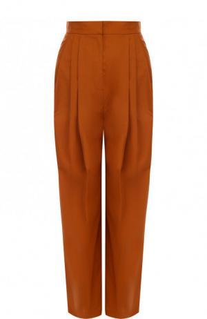 Укороченные хлопковые брюки свободного кроя Vika Gazinskaya. Цвет: коричневый