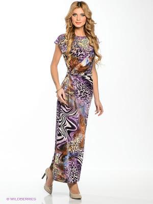 Платье МадаМ Т. Цвет: фиолетовый, светло-желтый, белый, черный