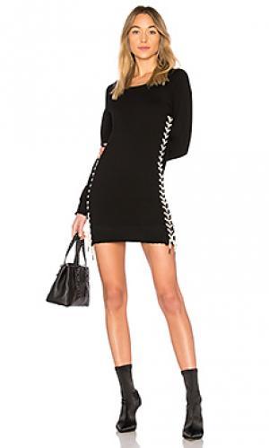 Платье со шнуровкой Pam & Gela. Цвет: черный