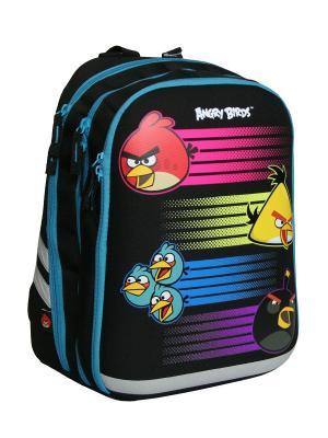 Рюкзак Спинка - толстый поролон, Angry Birds. Цвет: голубой, желтый, черный