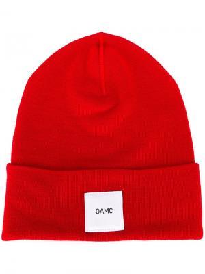 Шапка-бини с логотипом Oamc. Цвет: красный