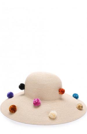 Шляпа с помпонами Eric Javits. Цвет: кремовый