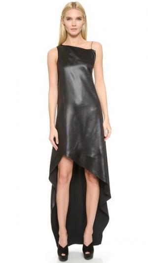 Атласное платье Narciso Rodriguez. Цвет: оникс