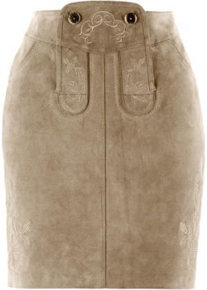 Кожаная юбка с вышивками (светло-коричневый) bonprix. Цвет: светло-коричневый