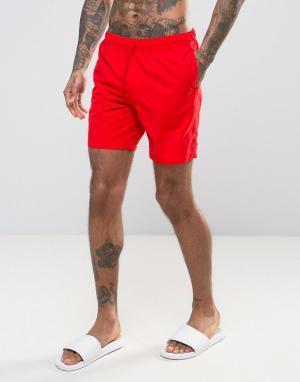 ASOS Красные шорты для плавания средней длины. Цвет: красный