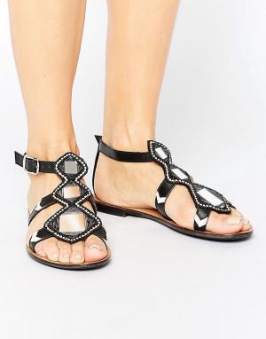 Park Lane Кожаные сандалии с зеркальной отделкой. Цвет: черный
