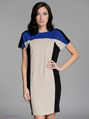 Платье LUIGI FERRO. Цвет: бежевый, синий