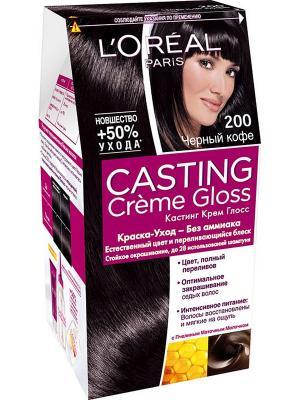 Стойкая краска-уход для волос Casting Creme Gloss без аммиака, оттенок 200, Черный кофе L'Oreal Paris. Цвет: черный