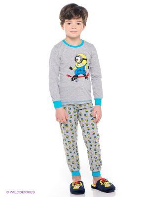 Пижама Миньоны Despicable Me, Minion Made. Цвет: серый меланж, желтый, голубой