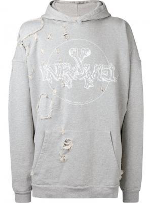 Толстовка с потертой отделкой Unravel Project. Цвет: серый