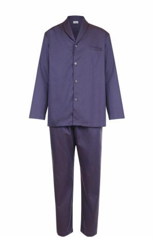 Хлопковая пижама Zimmerli. Цвет: темно-синий