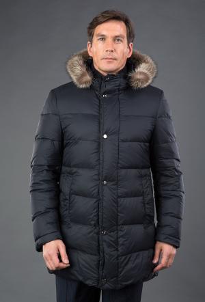 Мужской черный пуховик  со съемным капюшоном AFG. Цвет: черный