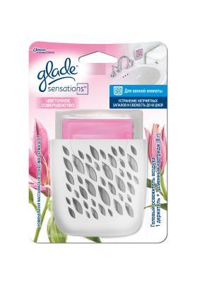Glade Освежитель воздуха для ванной комнаты Аромакристалл Цветочное совершенство 8г. Цвет: розовый