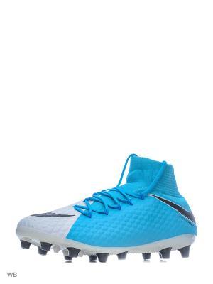 Бутсы HYPERVENOM PHATAL III DF AGPRO Nike. Цвет: голубой, белый