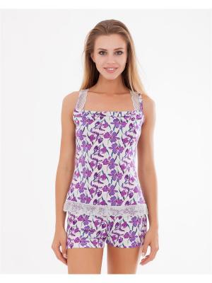 Пижама: топ, шорты Mark Formelle. Цвет: фиолетовый, розовый, белый, светло-серый