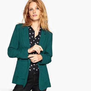 Жакет-блейзер из струящейся ткани La Redoute Collections. Цвет: сине-зеленый,темно-зеленый,черный,шоколадный