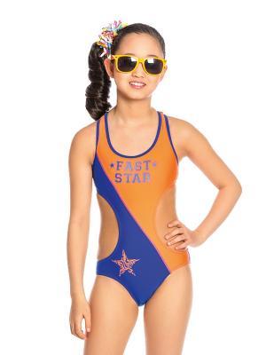 Купальник для девочек слитный Arina. Цвет: синий,оранжевый