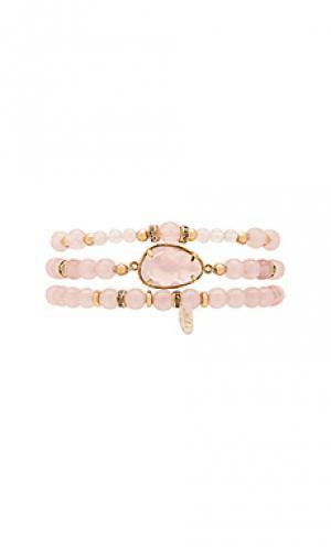 Набор браслетом с бисером Ettika. Цвет: розовый