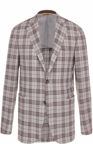 Шерстяной однобортный пиджак в клетку Canali. Цвет: серый