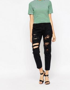 Tired Of Tokyo Состаренные джинсы. Цвет: черный