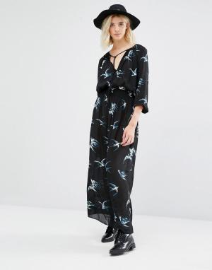 Gat Rimon Платье с принтом ласточек и длинными рукавами Taho. Цвет: черный