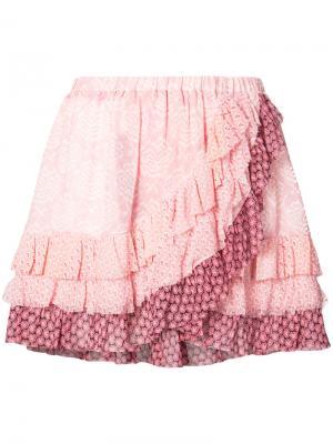 Юбка мини с оборками Love Shack Fancy. Цвет: розовый и фиолетовый