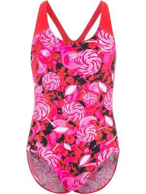 Слитный купальник Speedo. Цвет: красный, розовый, черный