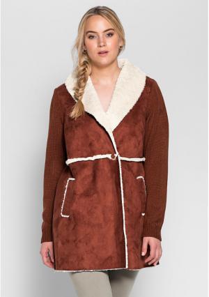Короткое пальто sheego. Цвет: коричневый
