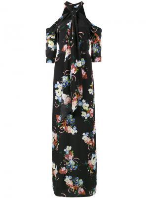 Платье с открытыми плечами и цветочным принтом Annaliese Erdem. Цвет: чёрный