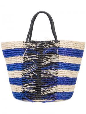 Плетеная сумка-тоут Sensi Studio. Цвет: телесный