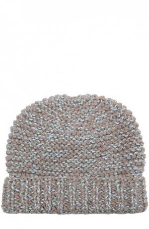 Вязаная шапка с отворотом 7II. Цвет: бежевый