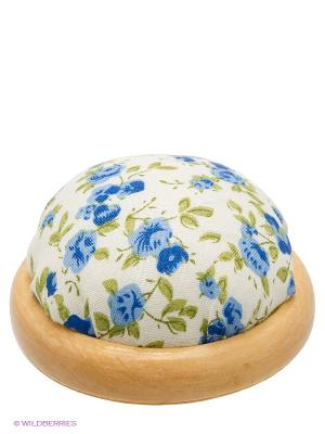 Игольница-подушечка Синие цветы Magic Home. Цвет: белый