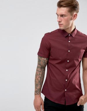 ASOS Бордовая рубашка узкого кроя с короткими рукавами. Цвет: красный