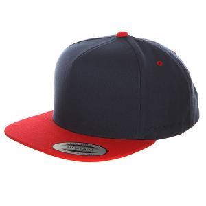 Бейсболка с прямым козырьком  6007T Navy/Red Flexfit. Цвет: синий,красный