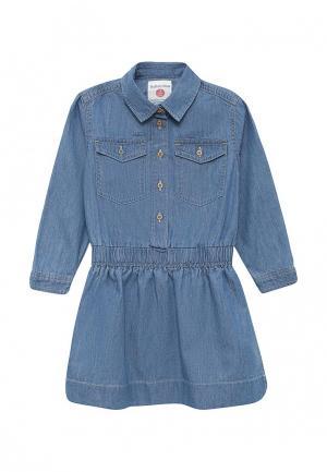 Платье джинсовое Button Blue. Цвет: голубой