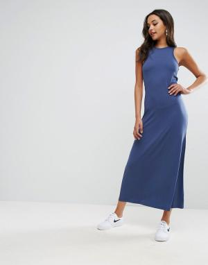 ASOS Платье макси с лифом в спортивном стиле City. Цвет: синий
